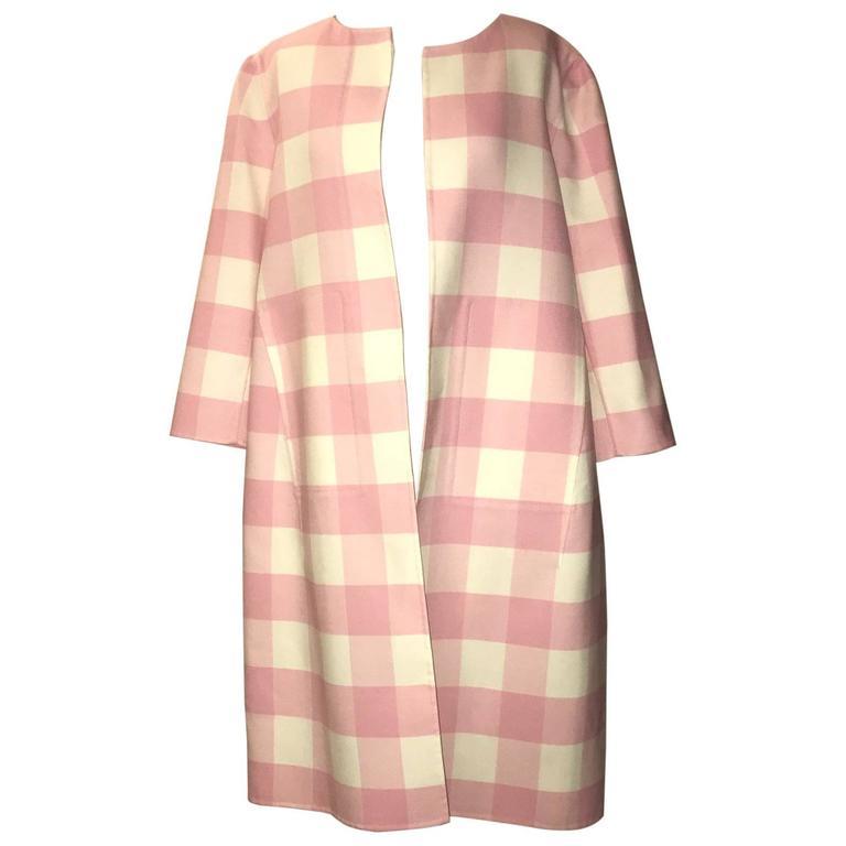 Oscar de la Renta 2015 Runway Pink White Buffalo Check Virgin Wool Coat For Sale