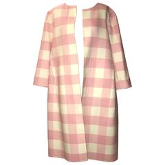Oscar de la Renta 2015 Runway Pink White Buffalo Check Virgin Wool Coat
