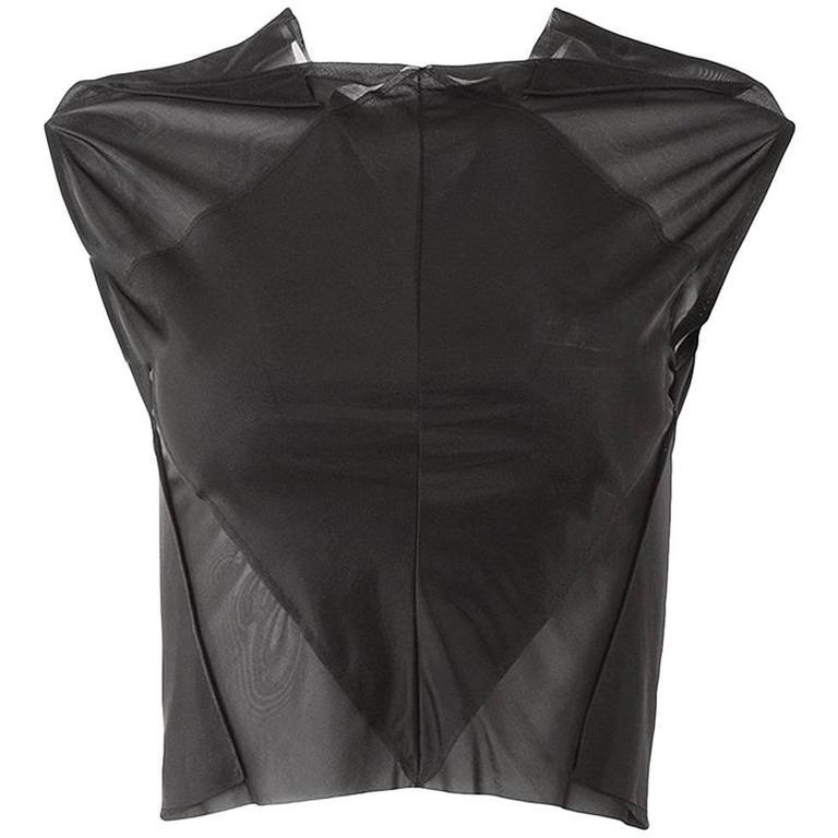 Maison Martin Margiela Vintage Artisanal Black Stretch Cropped Top