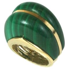 Elegant Domed Malachite Cocktail Ring