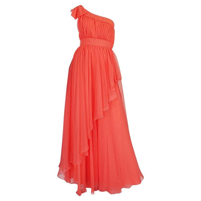 1960s One Shoulder Coral Chiffon & Rhinestone Dress