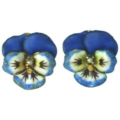Delicate Blue Enamel Pansy Earrings
