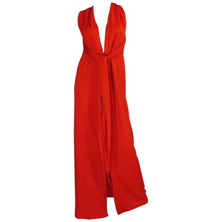 Convertible Plunge and Tie Red Jersey Maxi Dress, 1970s
