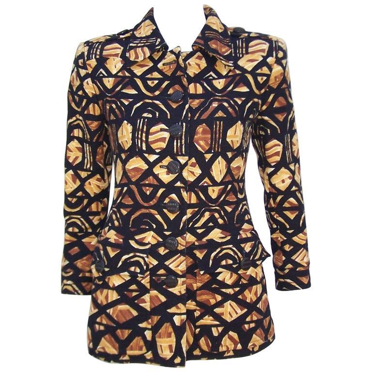 1980's Yves Saint Laurent Rive Gauche Tribal Print Safari Jacket