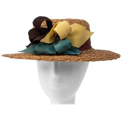 30s Straw Multi Colored Ribbon Hat