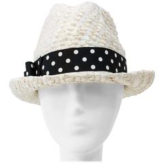 60s White Straw Hat with Polka Dot Hat Band