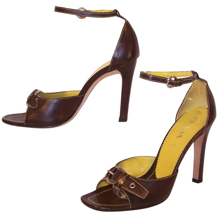Prada Brown Leather Sandals With Ankle Straps & Buckles Sz 38 For Sale