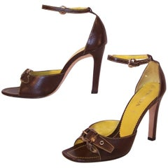 Prada Brown Leather Sandals With Ankle Straps & Buckles Sz 38