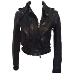 Givenchy Black Lamb Moto Jacket With Removable Collar Strap, Belt and Sleeves