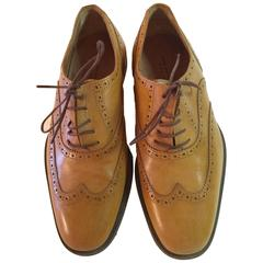 Dries van Noten Camel Leather Italian Brogue Low Heel Lace Shoe Ladies