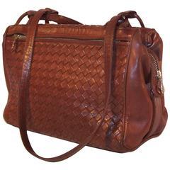 C.1980 Bottega Veneta Brown Intrecciato Leather Satchel Handbag