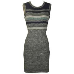 Chanel Blue and Grey Metallic Stripe Stretch Knit Bodycon Dress CC Logo