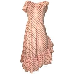 Margaret Newman 1950s Pink Apple Cherry Print Ruffle Sun Dress with Shawl