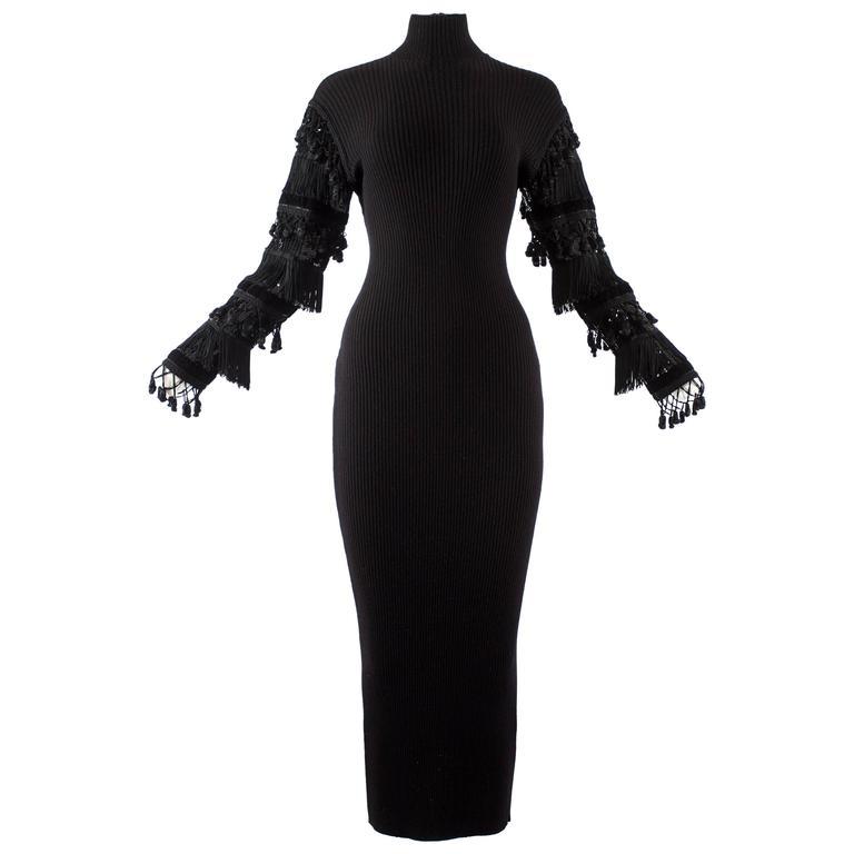 Jean Paul Gaultier Autumn-Winter 1985 black rib knit evening dress  For Sale