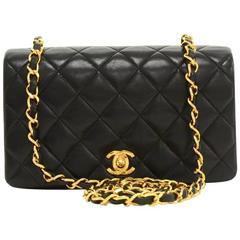 Vintage Chanel Black Quilted Leather Shoulder Flap Mini Bag