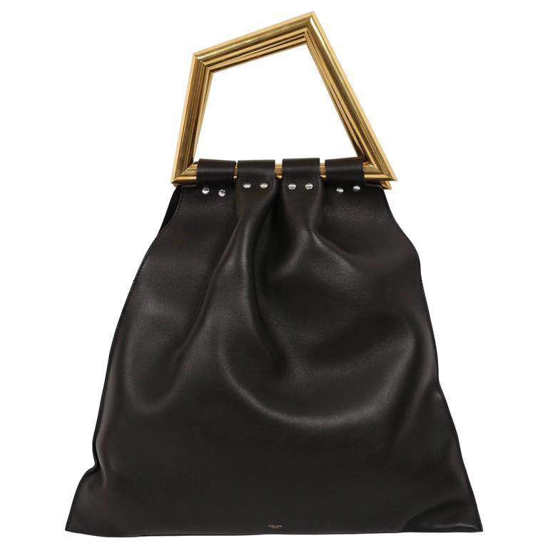 ew CELINE Phoebe Philo black leather runway bag with gold triangular metal handl 1