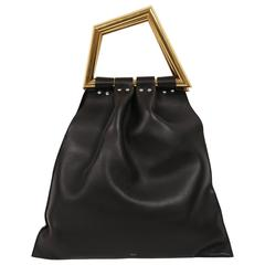ew CELINE Phoebe Philo black leather runway bag with gold triangular metal handl
