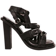 2003 Nicolas Ghesquière for Balenciaga black leather sandals 38 unworn