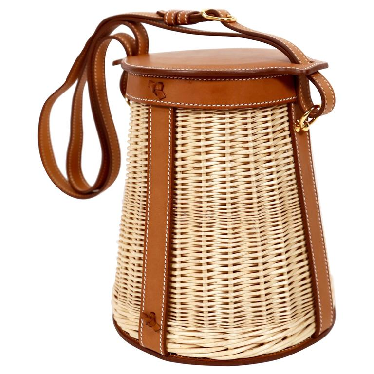 very rare HERMES Farming Picnic Osier bag in wicker and veau barenia leather 1