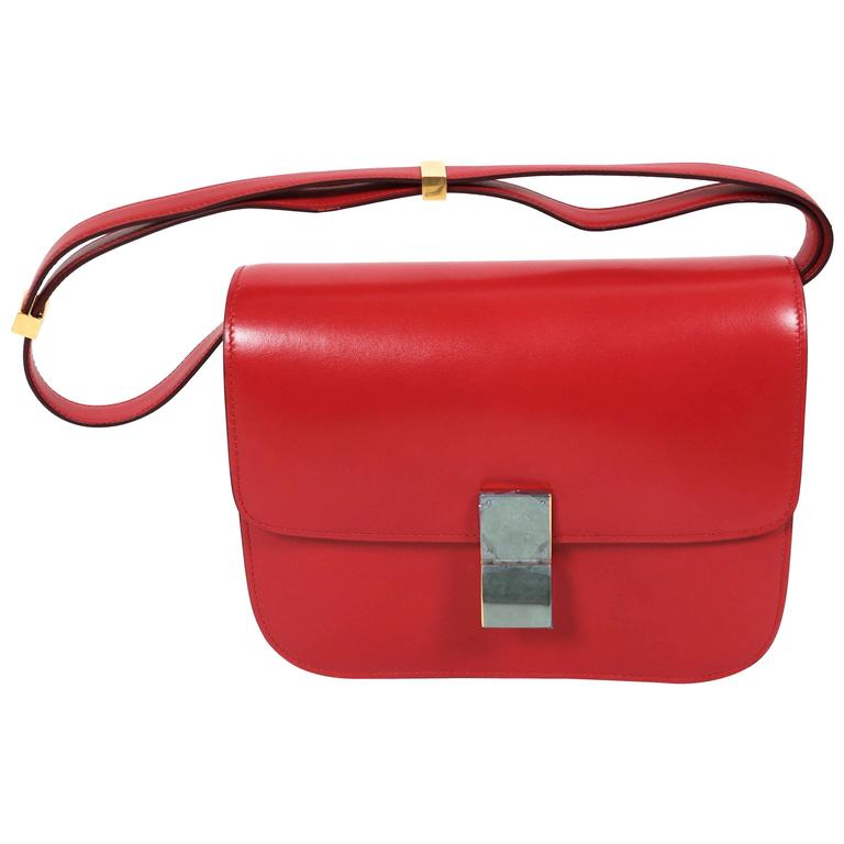 a3c0d61ad29 new CELINE medium classic box leather bag with convertible strap in red