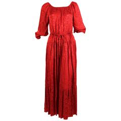 1970's OSSIE CLARK red floral damask dress