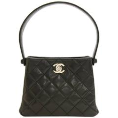 "Chanel 7"" Black Quilted Leather Mini Hand Bag Silver HWD"