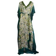 Oscar de la Renta Floral Silk Chiffon Caftan