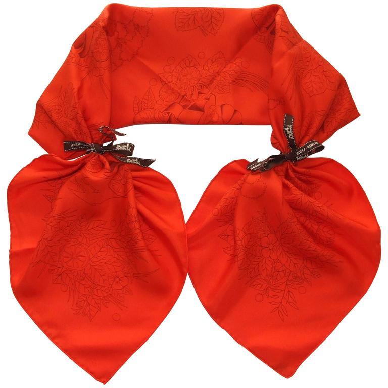 Rare Hermes Silk Scarf De La Citrouille A La Caleche Sophie Koechlin Orange 90cm