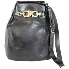 Salvatore Ferragamo Black Python Snakeskin Bucket Shoulder Bag 1980s
