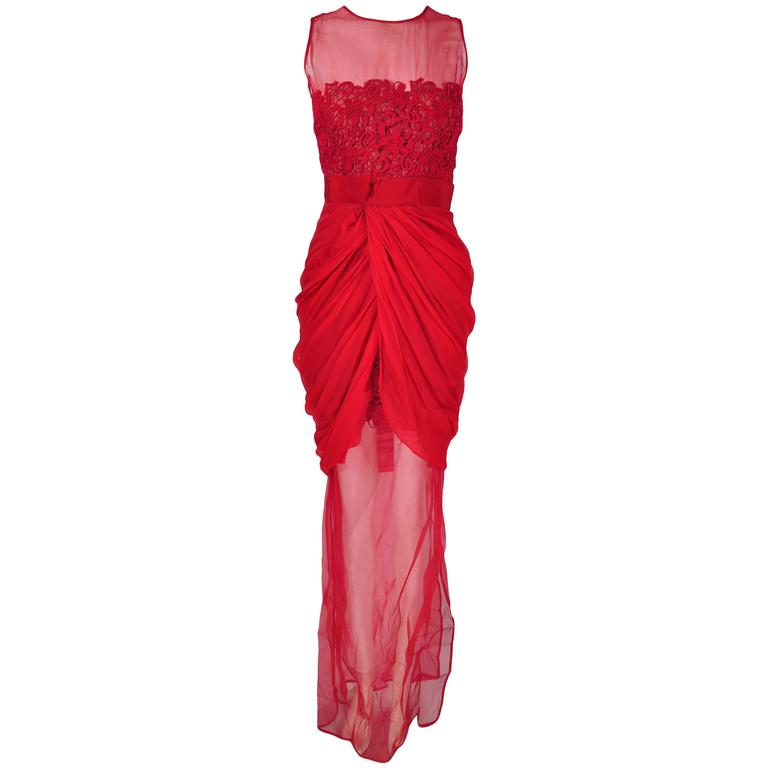 Giambattista Valli Red & Sheer Guipure Lace Appliqued Evening Dress
