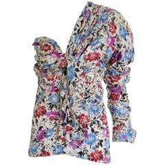 1980s GIANNI VERSACE Silk Floral Print One Shoulder Shirt