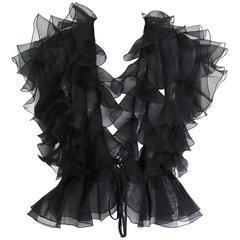 1980s VALENTINO BOUTIQUE Black Flounce Silk Blouse