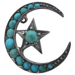 Victorian Silver Crescent Moon Star Pave Turquoise Brooch