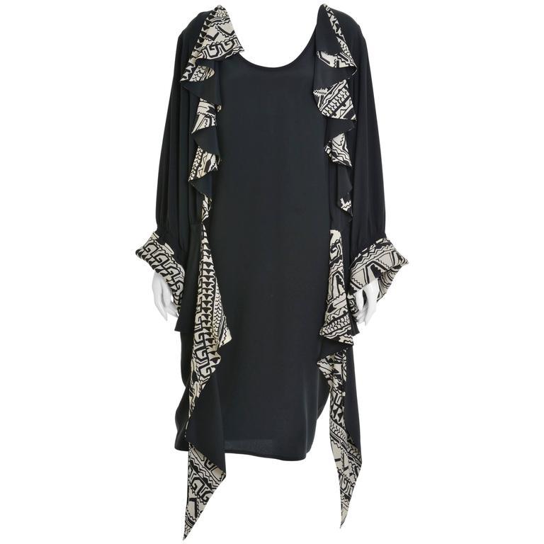 1980s CADETTE Black Silk Cocktail Dress
