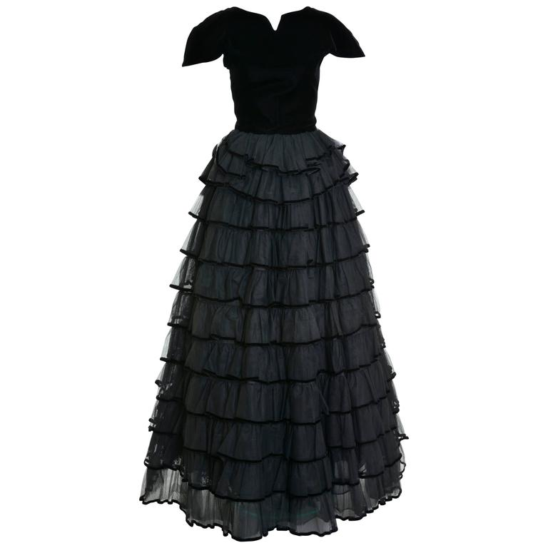 1980s VALENTINO Haute Couture Black Flounce Long Dress