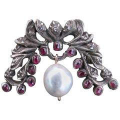 Victorian Silver Rose Cut Diamond Ruby Pearl Brooch