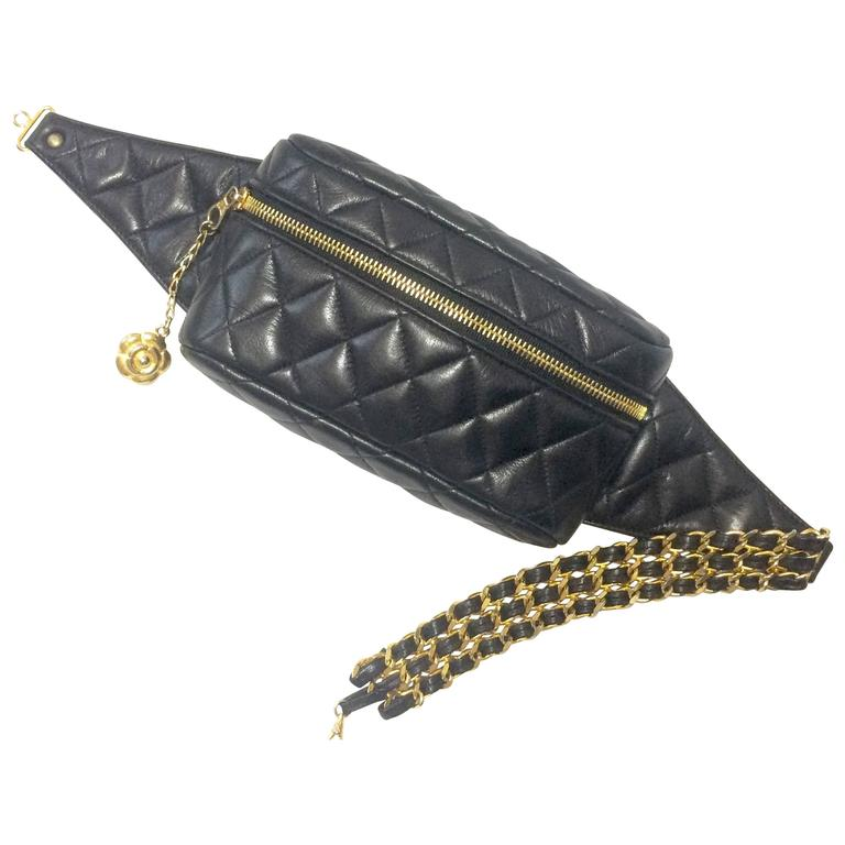 Vintage Chanel Black Waist Bag Fanny Pack With Triple