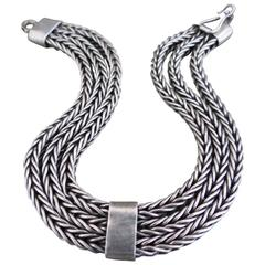 Vintage Silver Cuff Bracelet Mid Century Danish Snakeskin Bangle