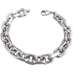 Vintage Silver Link Chain Anchor Bracelet Danish Bjarne Nordmark Henriksen