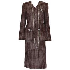 Classy Chanel Pleated Skirt Tweed Suit