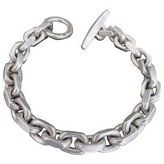 Vintage Silver Link Chain Anchor Bracelet Mid Century Danish F.Hingelberg
