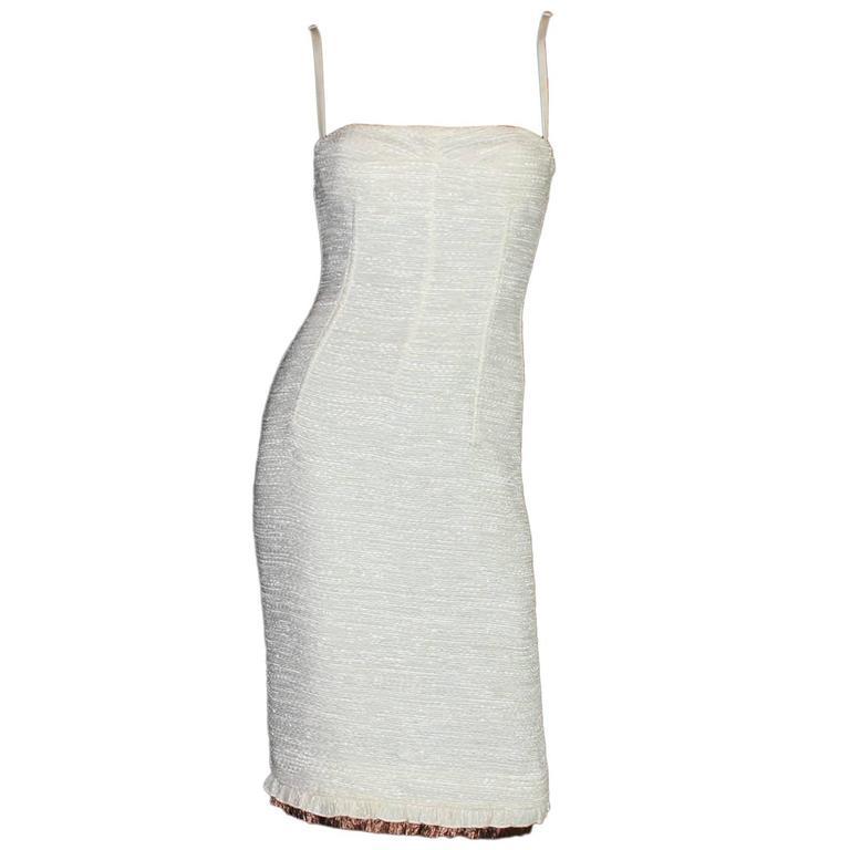 Dolce Gabbana Woven Boned Corset Dress & Coat Frayed Python Trimming For Sale
