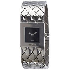 Chanel Classic Silver Metal and Stainless Steel Quilted Mademoiselle Watch