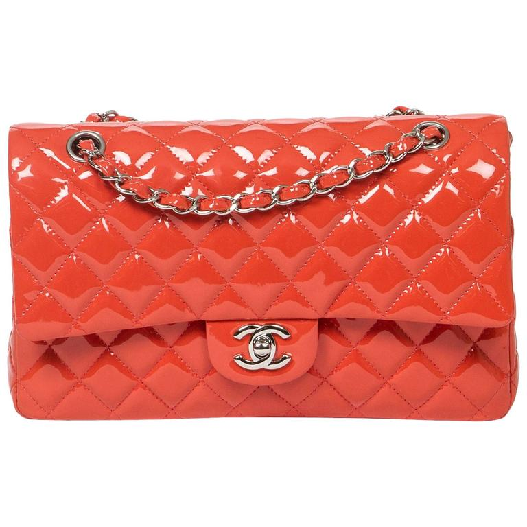 Chanel Classic Double Flap 26 Quilted Coral Pink Patent Leather 1