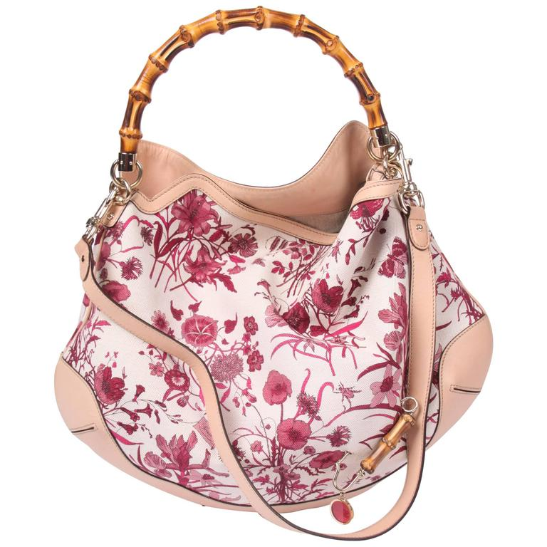 81e9696a859 Gucci Canvas Floral Peggy Bamboo Top Handle Hobo - pink at 1stdibs