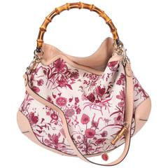 Gucci Canvas Floral Peggy Bamboo Top Handle Hobo - pink