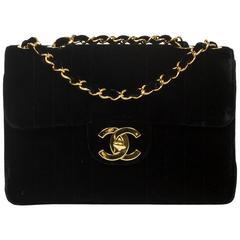 Chanel Vintage Jumbo Black Vertical Quilted Velvet