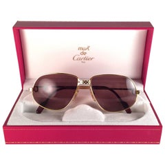 New Vintage Cartier Panthere 56mm Medium Sunglasses France 18k Gold Heavy Plated