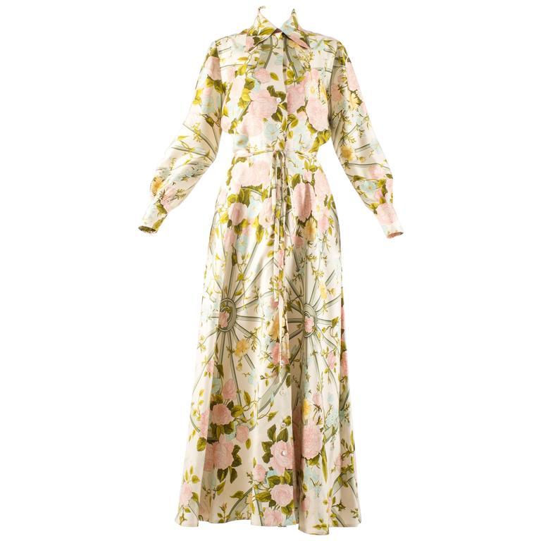 Hermes 1970s 'Romantique' couture silk floral maxi dress  1