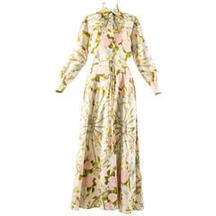 Hermes 1970s 'Romantique' couture silk floral maxi dress